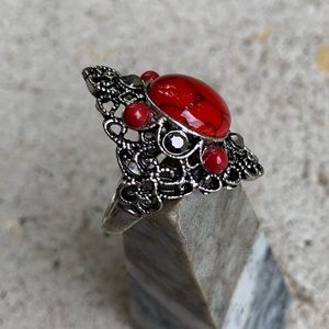 Jewelry - Bold Red Howlite Ring Size 10